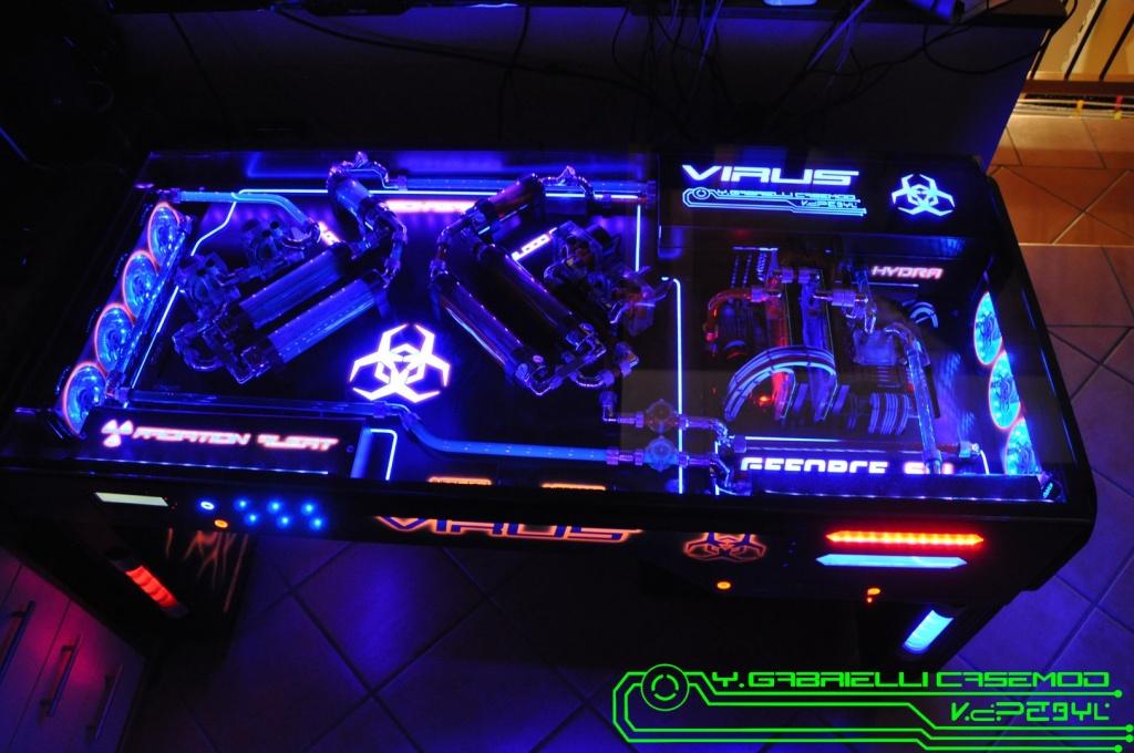 Case Mod - Complete - Project Virus -Hydra desk case